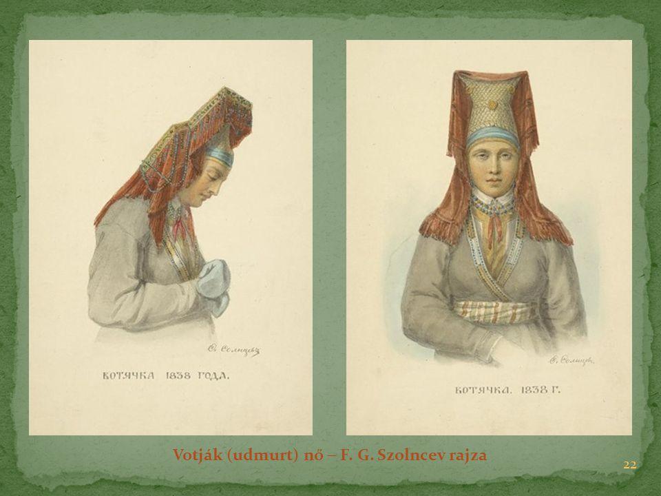 Votják (udmurt) nő  F. G. Szolncev rajza