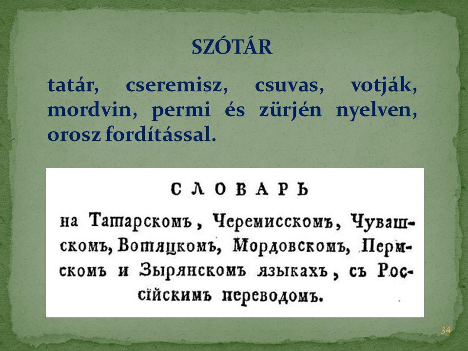 SZÓTÁR tatár, cseremisz, csuvas, votják, mordvin, permi és zürjén nyelven, orosz fordítással.