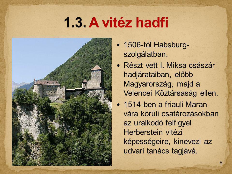 1.3. A vitéz hadfi 1506-tól Habsburg- szolgálatban.