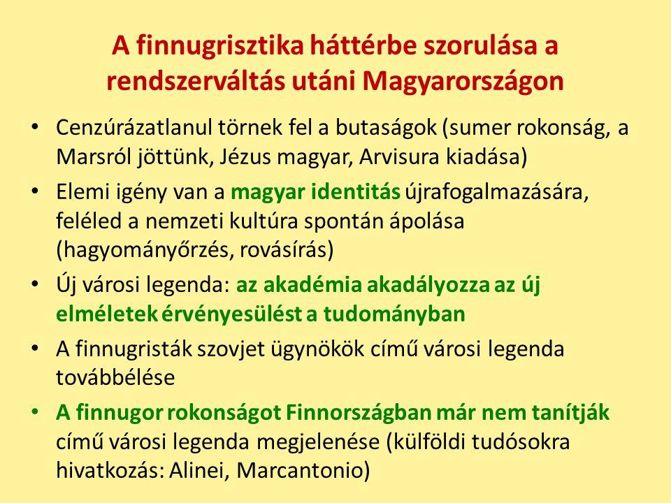 A finnugrisztika háttérbe szorulása a rendszerváltás utáni Magyarországon