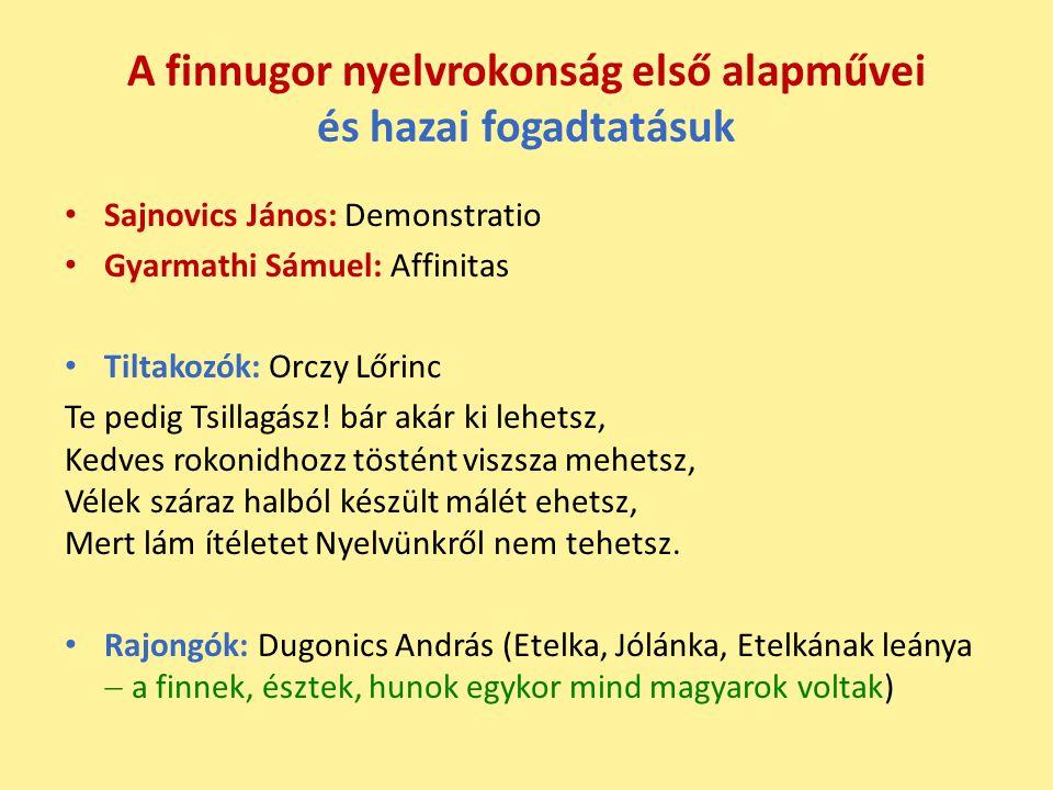 A finnugor nyelvrokonság első alapművei és hazai fogadtatásuk