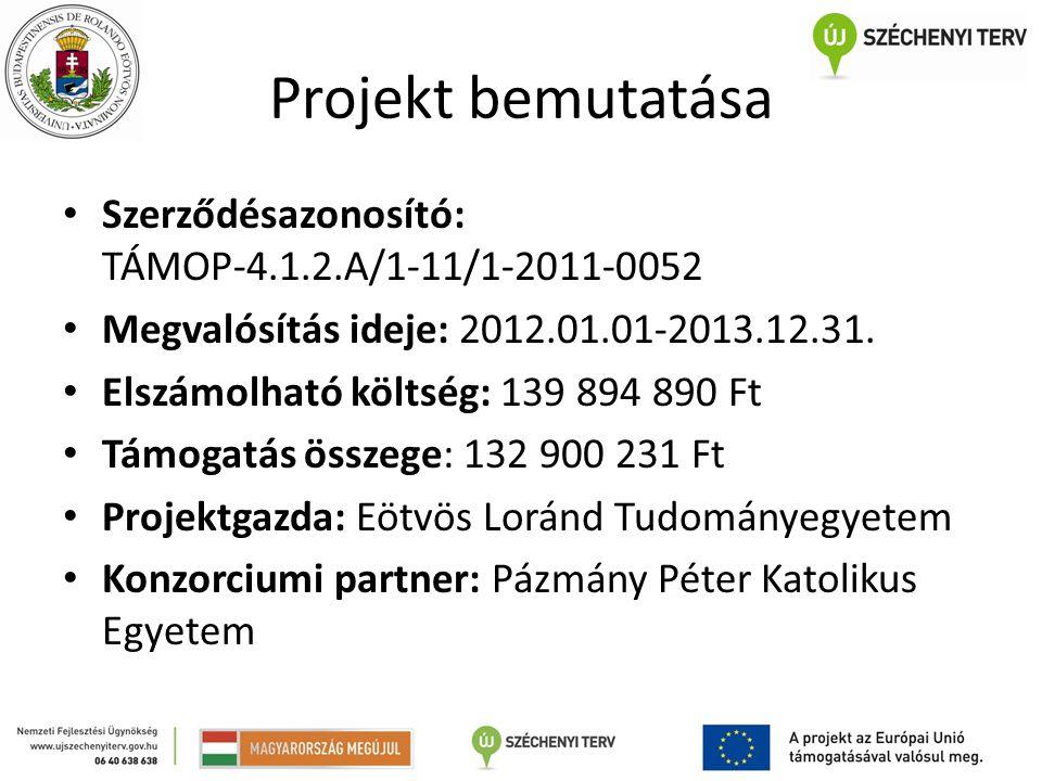 Projekt bemutatása Szerződésazonosító: TÁMOP-4.1.2.A/1-11/1-2011-0052