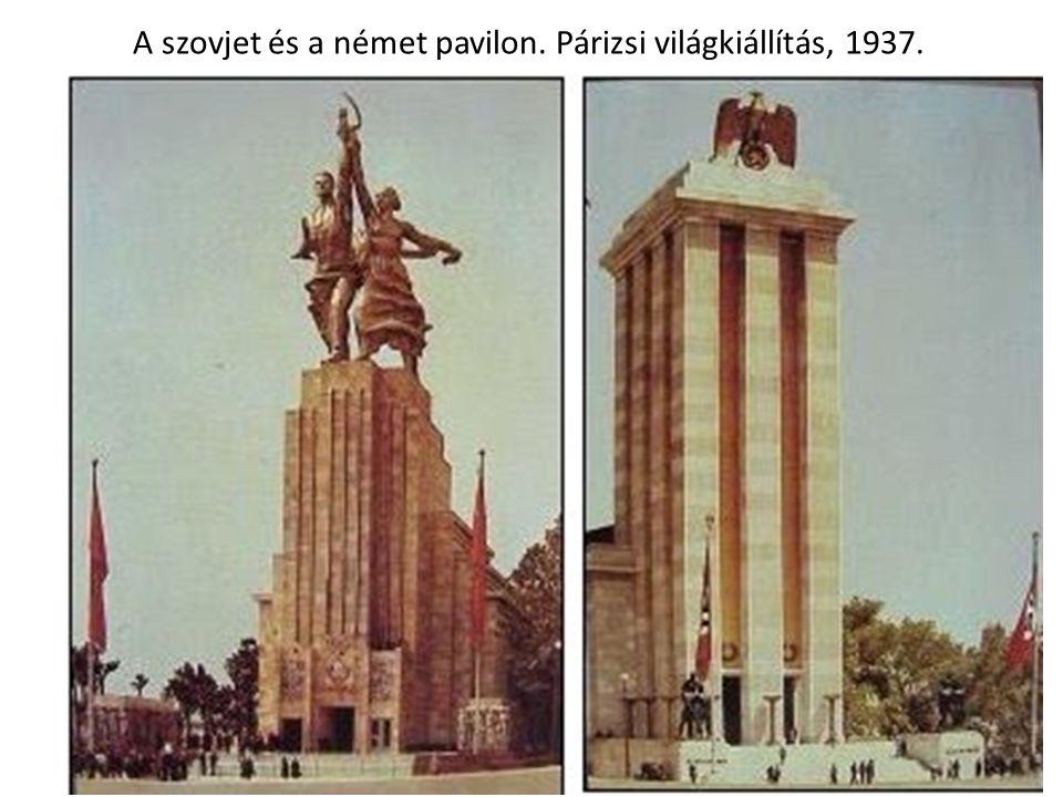 A szovjet és a német pavilon. Párizsi világkiállítás, 1937.