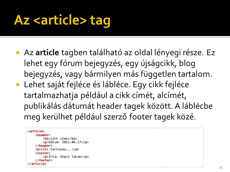 Az <article> tag
