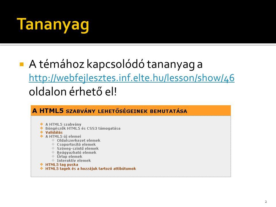 Tananyag A témához kapcsolódó tananyag a http://webfejlesztes.inf.elte.hu/lesson/show/46 oldalon érhető el!