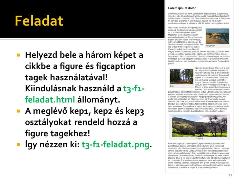 Feladat Helyezd bele a három képet a cikkbe a figure és figcaption tagek használatával! Kiindulásnak használd a t3-f1-feladat.html állományt.