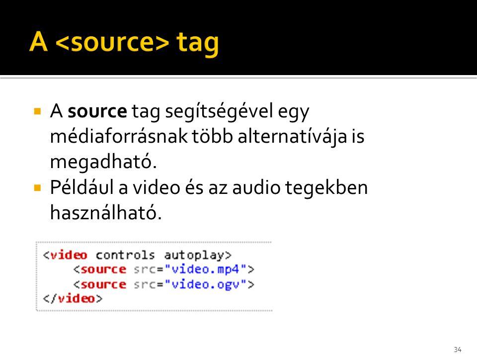 A <source> tag A source tag segítségével egy médiaforrásnak több alternatívája is megadható.