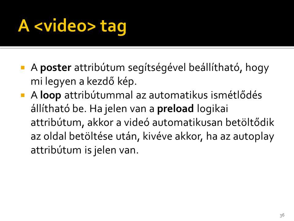 A <video> tag A poster attribútum segítségével beállítható, hogy mi legyen a kezdő kép.