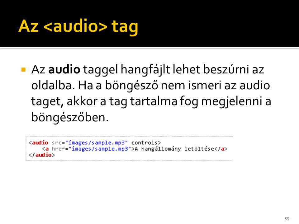 Az <audio> tag
