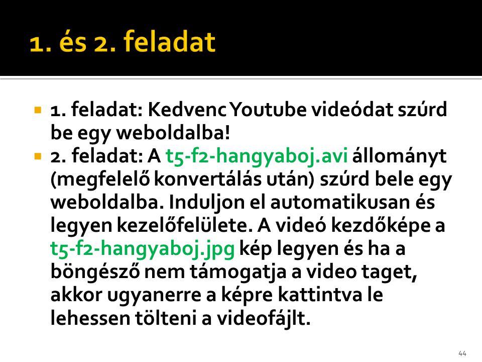 1. és 2. feladat 1. feladat: Kedvenc Youtube videódat szúrd be egy weboldalba!
