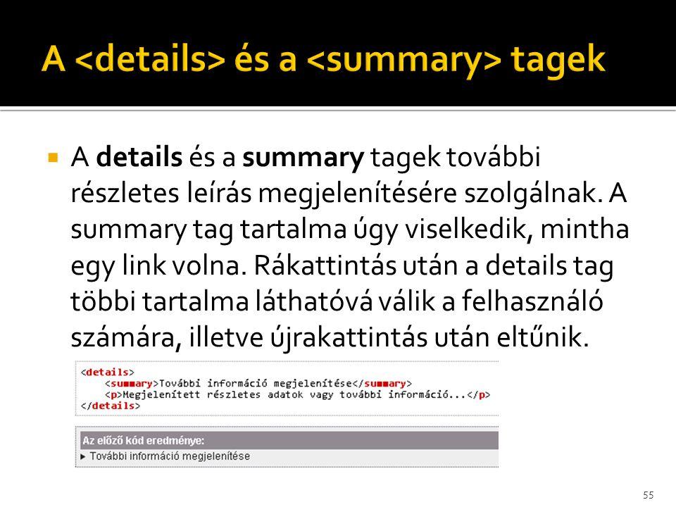 A <details> és a <summary> tagek