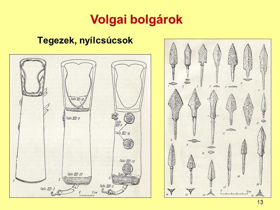 Volgai bolgárok Tegezek, nyílcsúcsok
