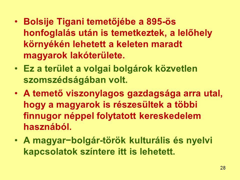 Bolsije Tigani temetőjébe a 895-ös honfoglalás után is temetkeztek, a lelőhely környékén lehetett a keleten maradt magyarok lakóterülete.