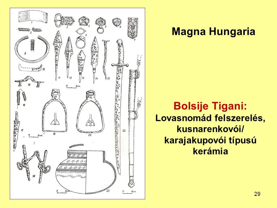 Magna Hungaria Bolsije Tigani: Lovasnomád felszerelés, kusnarenkovói/ karajakupovói típusú kerámia