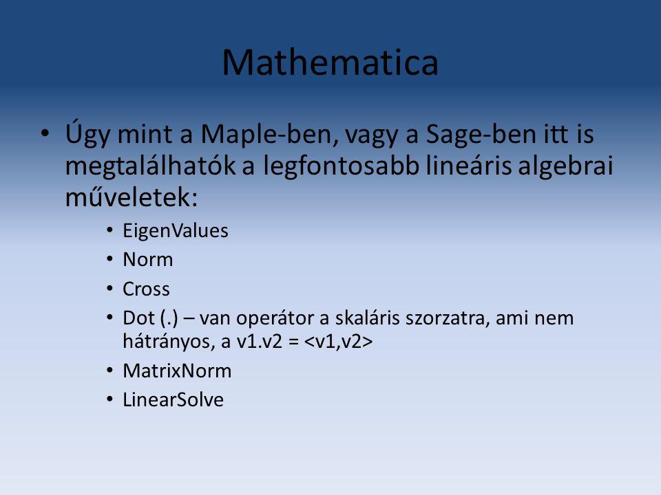 Mathematica Úgy mint a Maple-ben, vagy a Sage-ben itt is megtalálhatók a legfontosabb lineáris algebrai műveletek: