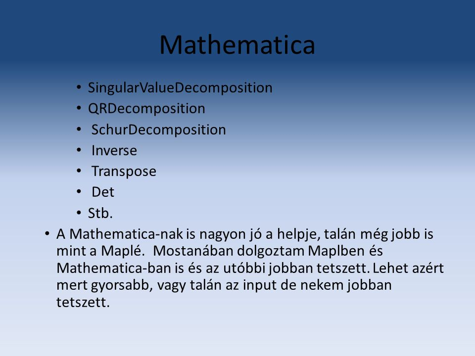 Mathematica SingularValueDecomposition QRDecomposition