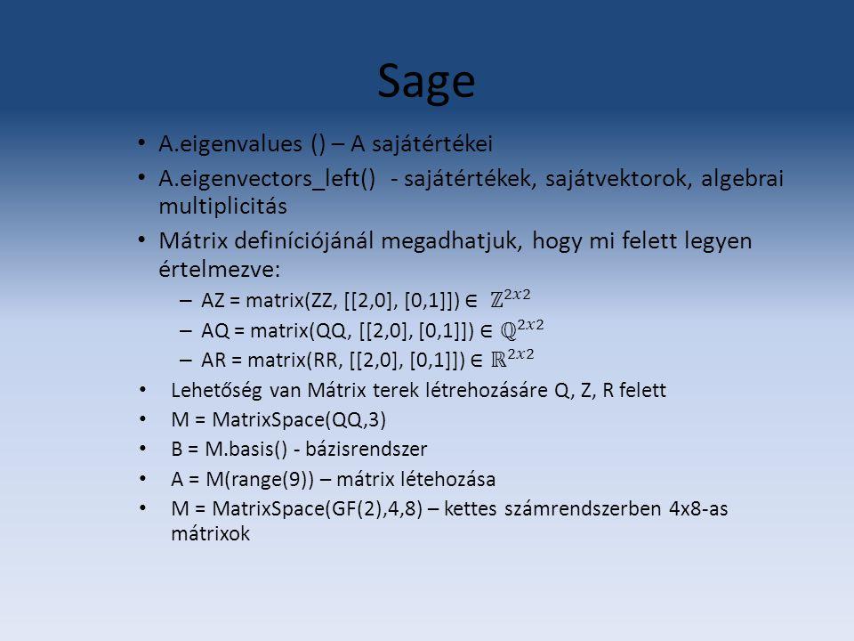 Sage A.eigenvalues () – A sajátértékei
