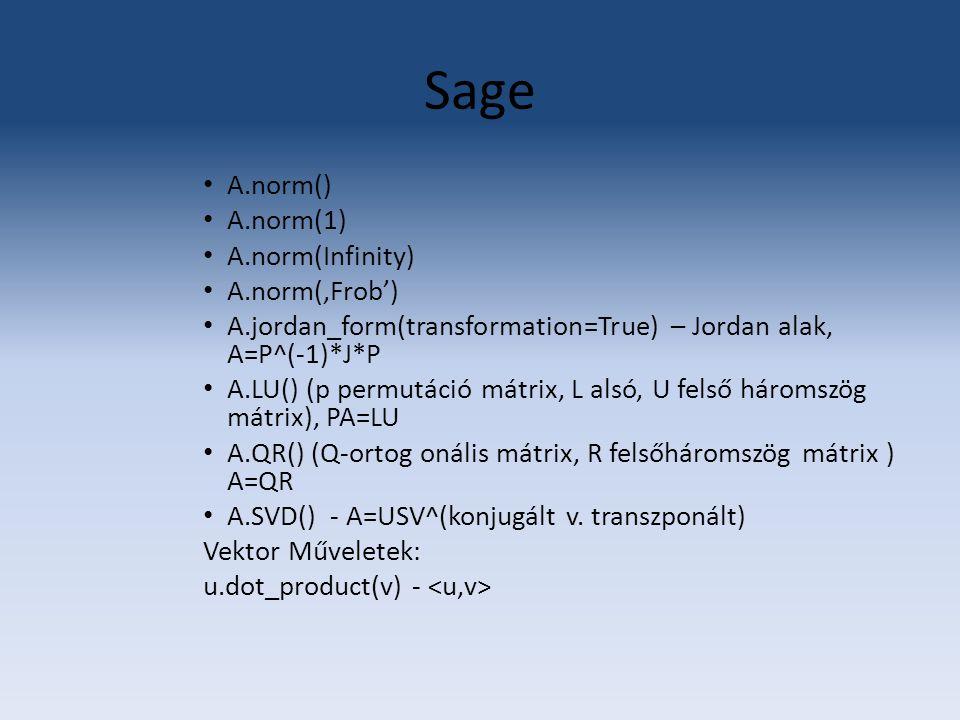 Sage A.norm() A.norm(1) A.norm(Infinity) A.norm('Frob')