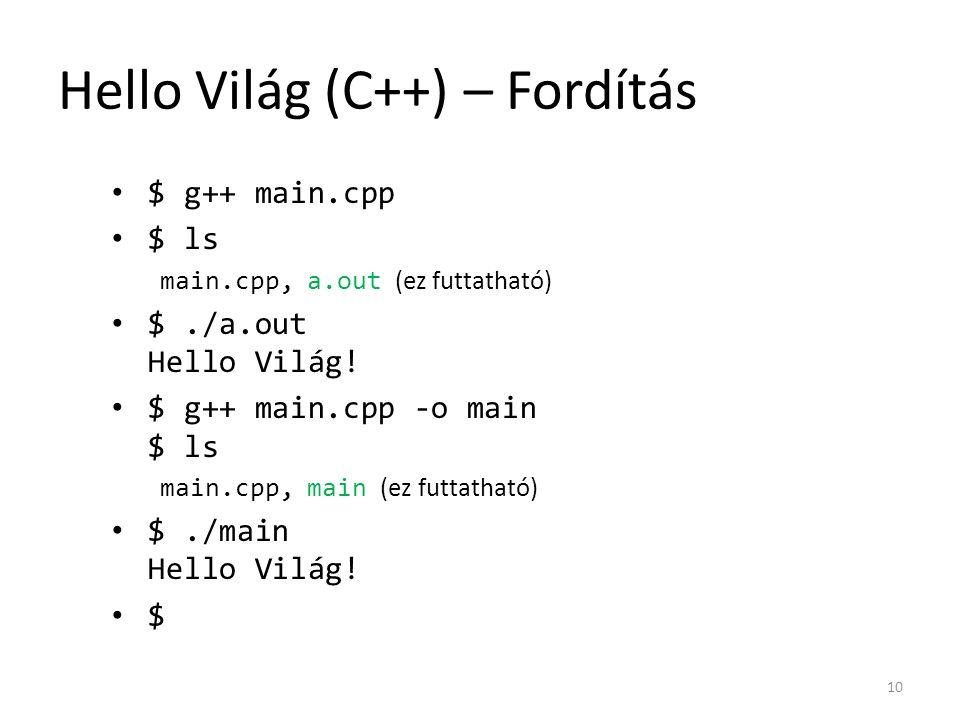 Hello Világ (C++) – Fordítás