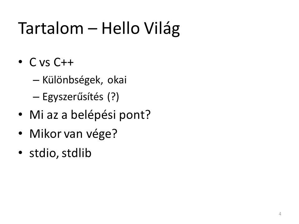 Tartalom – Hello Világ C vs C++ Mi az a belépési pont Mikor van vége