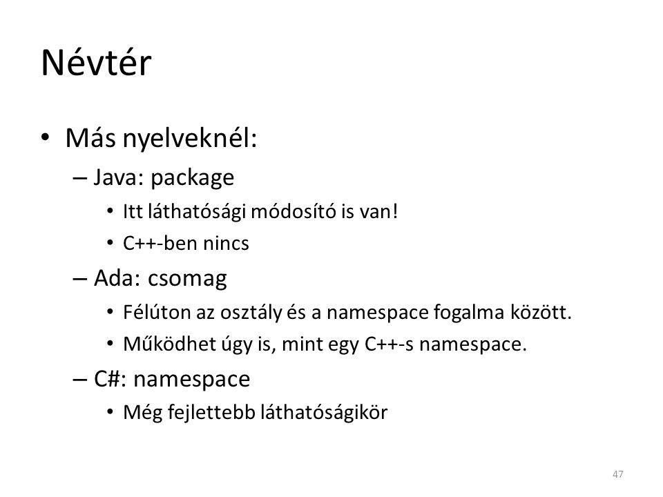 Névtér Más nyelveknél: Java: package Ada: csomag C#: namespace