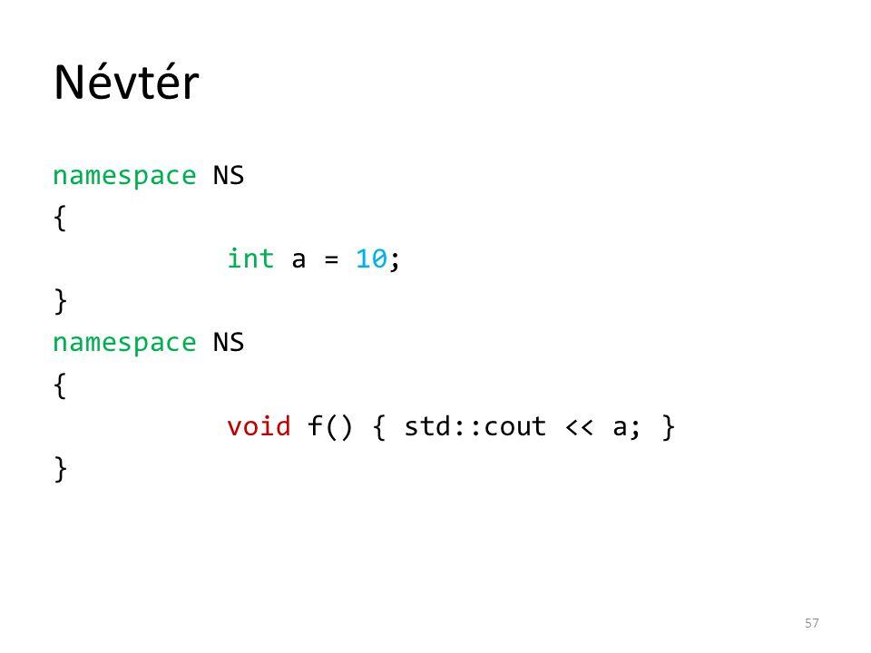 Névtér namespace NS { int a = 10; } void f() { std::cout << a; }