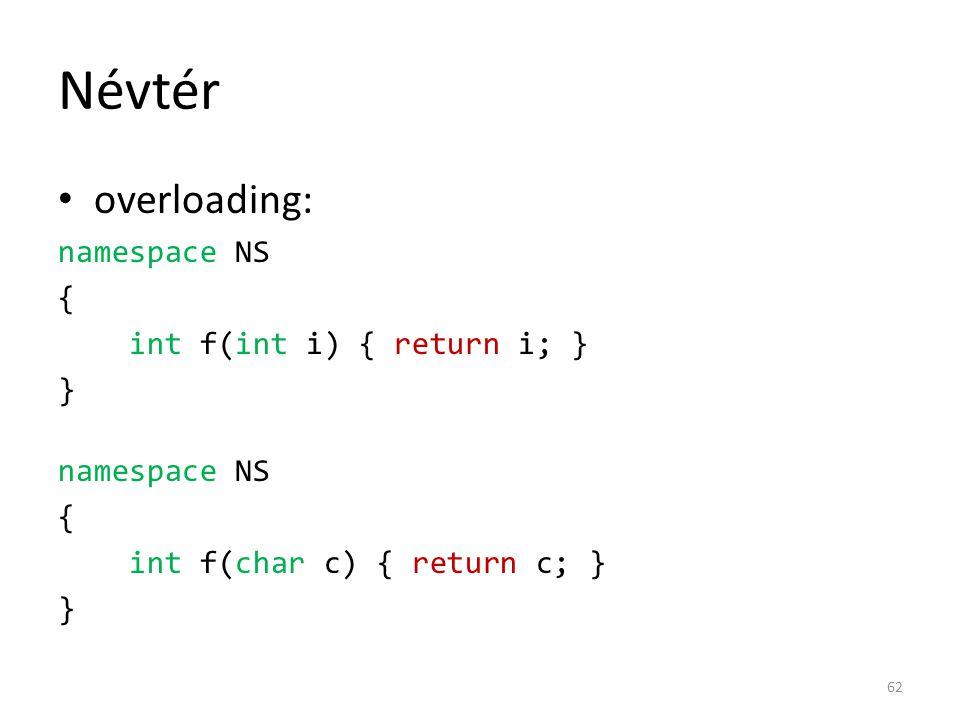 Névtér overloading: namespace NS { int f(int i) { return i; } }