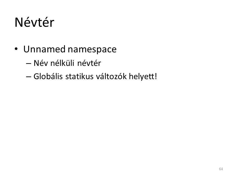 Névtér Unnamed namespace Név nélküli névtér