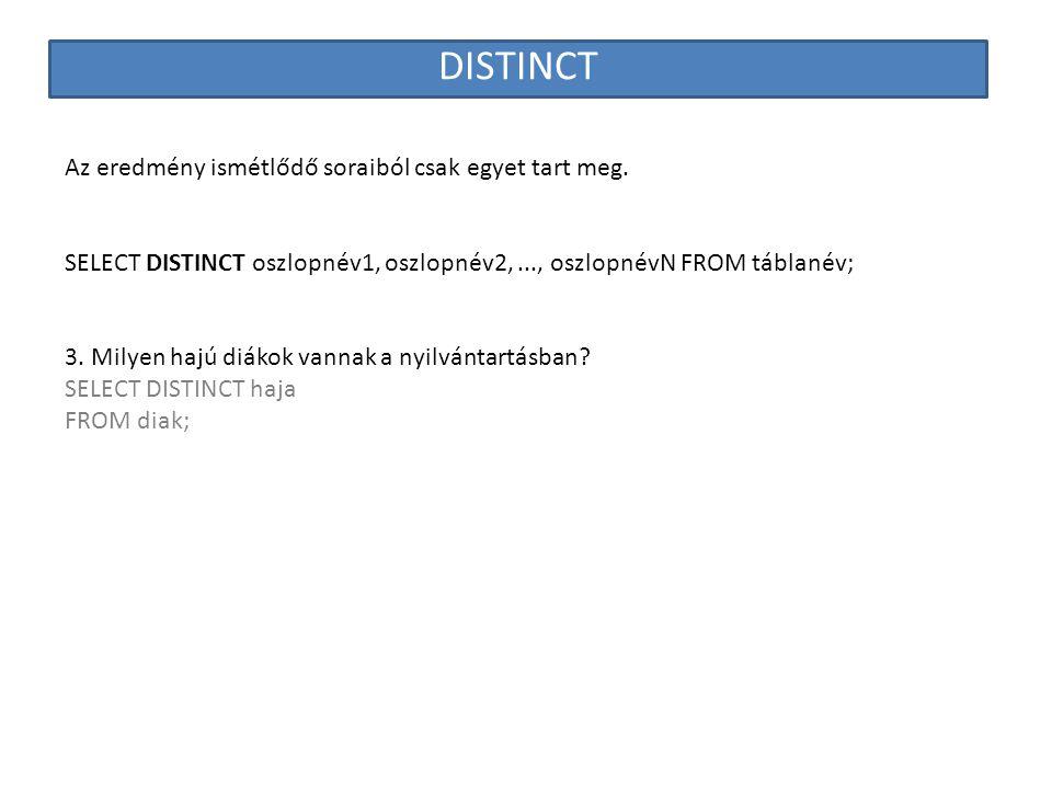 DISTINCT Az eredmény ismétlődő soraiból csak egyet tart meg.