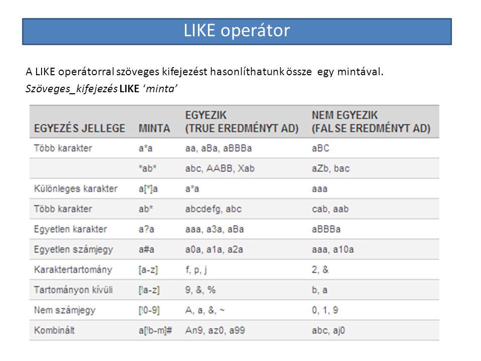 LIKE operátor A LIKE operátorral szöveges kifejezést hasonlíthatunk össze egy mintával.