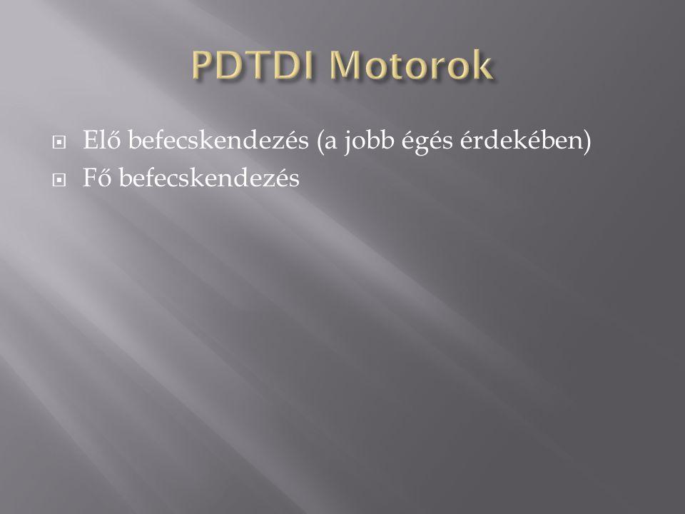 PDTDI Motorok Elő befecskendezés (a jobb égés érdekében)