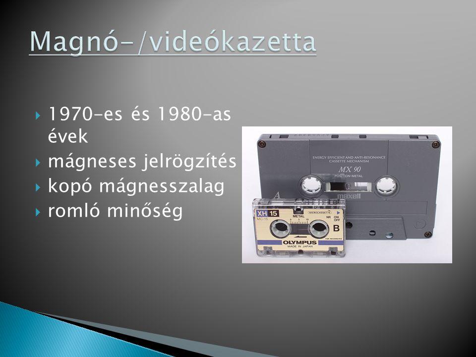 Magnó-/videókazetta 1970-es és 1980-as évek mágneses jelrögzítés