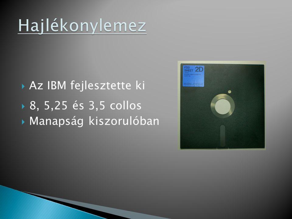 Hajlékonylemez Az IBM fejlesztette ki 8, 5,25 és 3,5 collos