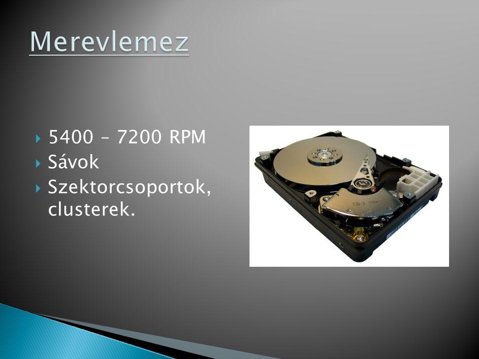 Merevlemez 5400 – 7200 RPM Sávok Szektorcsoportok, clusterek.