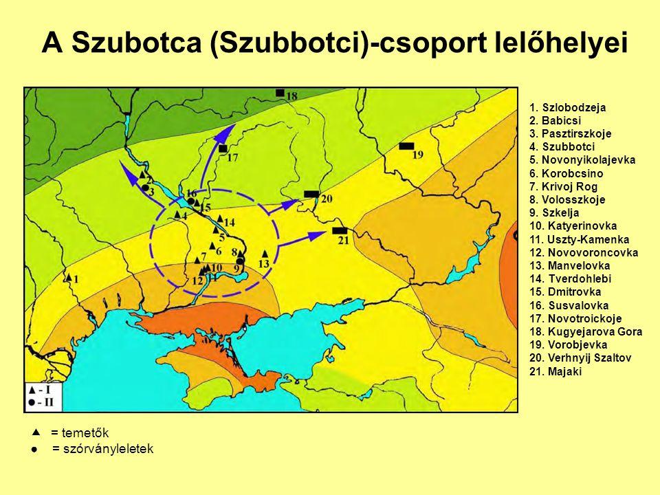 A Szubotca (Szubbotci)-csoport lelőhelyei