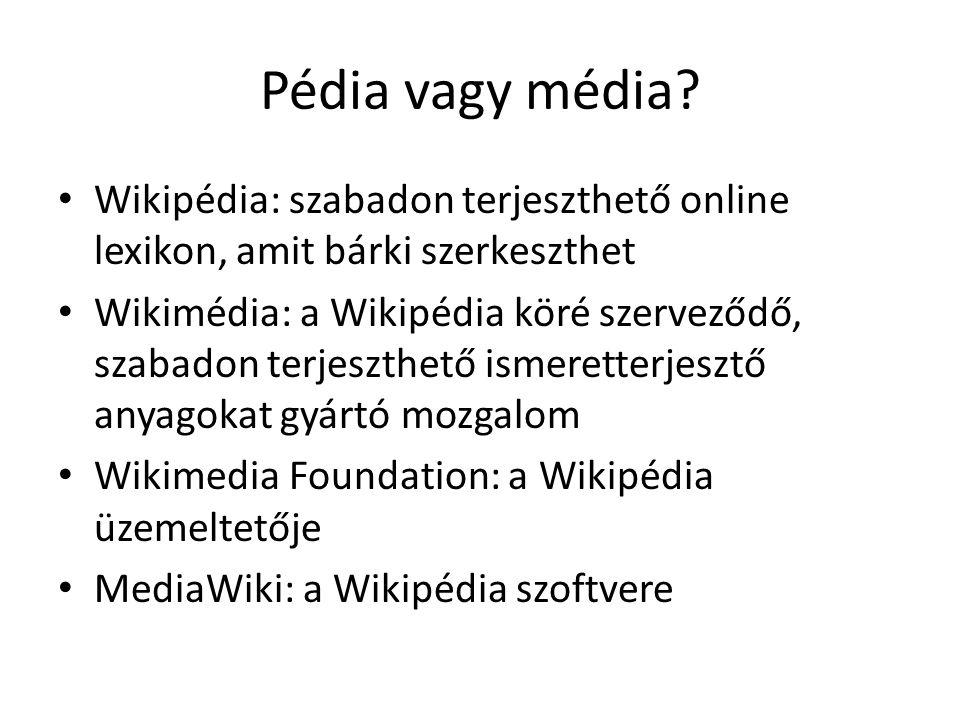 Pédia vagy média Wikipédia: szabadon terjeszthető online lexikon, amit bárki szerkeszthet.