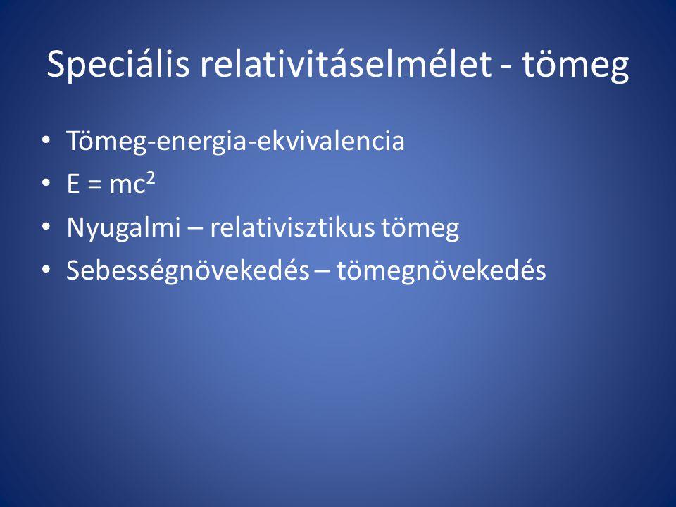 Speciális relativitáselmélet - tömeg