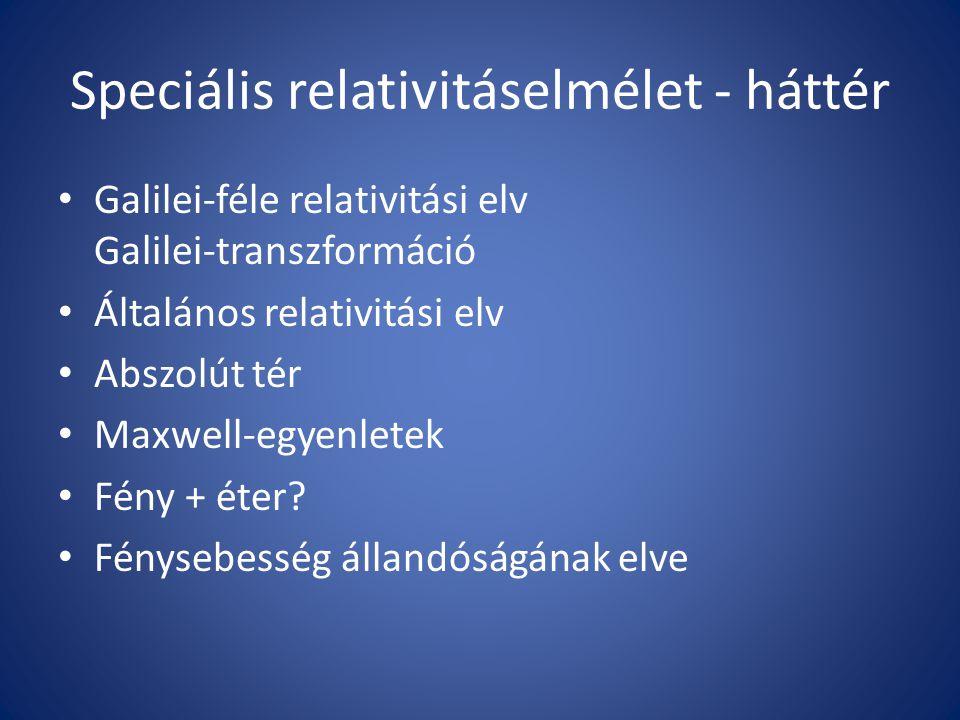 Speciális relativitáselmélet - háttér