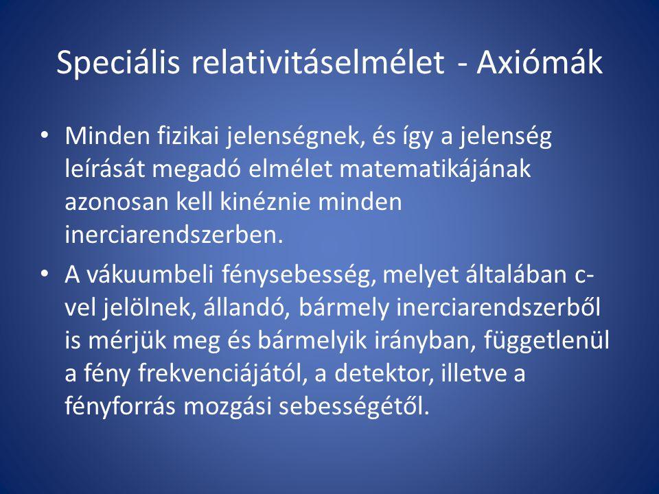 Speciális relativitáselmélet - Axiómák