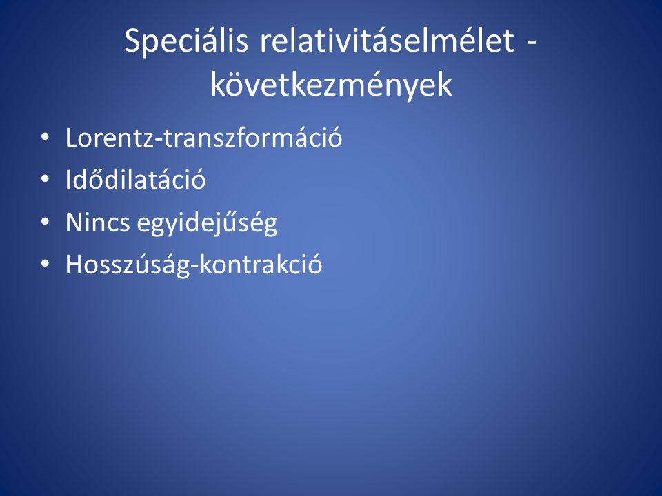 Speciális relativitáselmélet - következmények