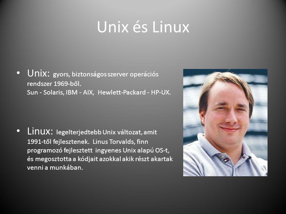Unix és Linux Unix: gyors, biztonságos szerver operációs rendszer 1969-ből. Sun - Solaris, IBM - AIX, Hewlett-Packard - HP-UX.