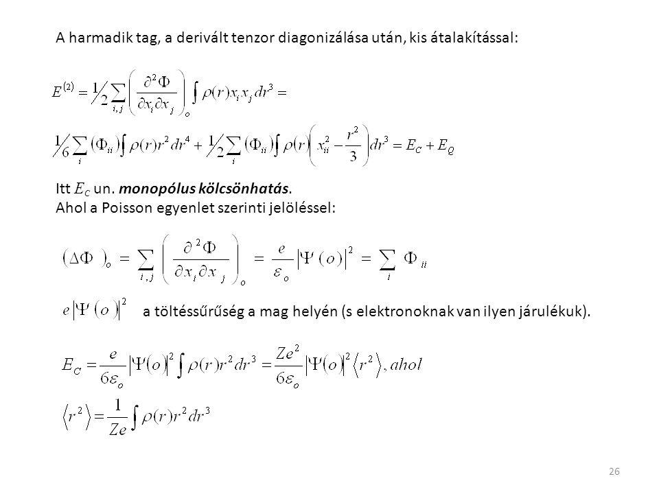 A harmadik tag, a derivált tenzor diagonizálása után, kis átalakítással: