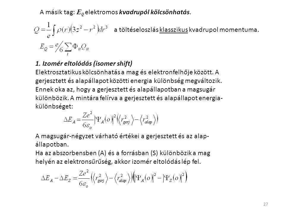 A másik tag: EQ elektromos kvadrupól kölcsönhatás.