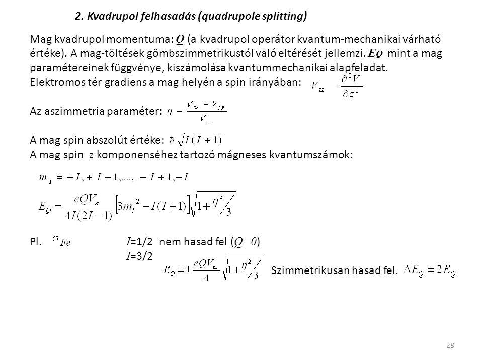2. Kvadrupol felhasadás (quadrupole splitting)