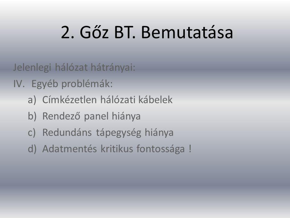 2. Gőz BT. Bemutatása Jelenlegi hálózat hátrányai: Egyéb problémák: