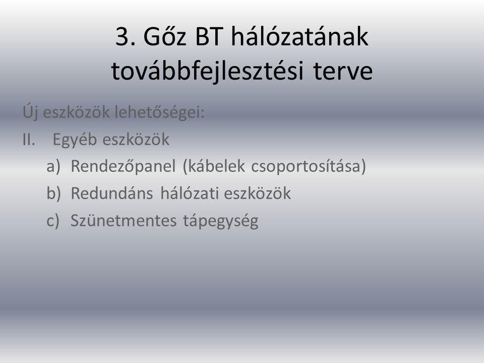 3. Gőz BT hálózatának továbbfejlesztési terve
