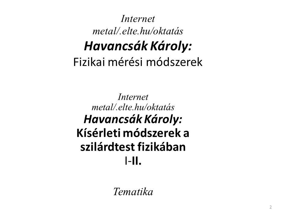 Internet metal/.elte.hu/oktatás Havancsák Károly: Fizikai mérési módszerek