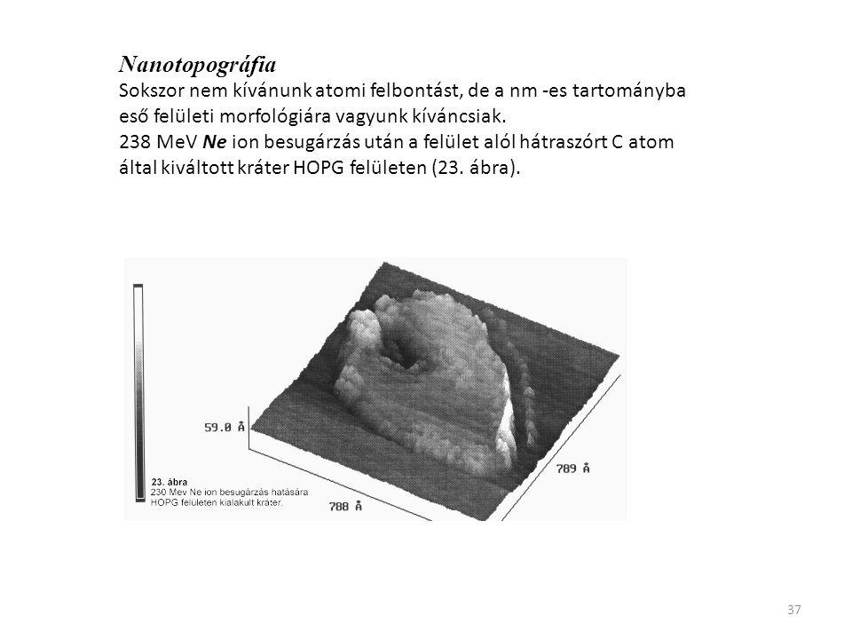 Nanotopográfia Sokszor nem kívánunk atomi felbontást, de a nm -es tartományba eső felületi morfológiára vagyunk kíváncsiak.