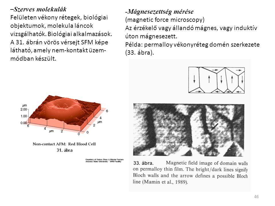 –Szerves molekulák Felületen vékony rétegek, biológiai objektumok, molekula láncok vizsgálhatók. Biológiai alkalmazások.