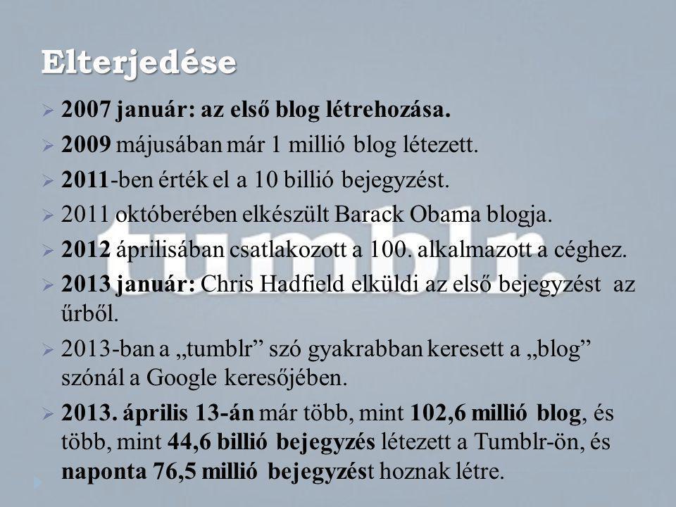 Elterjedése 2007 január: az első blog létrehozása.